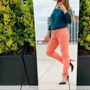ARMANI Jeans Coral Pink Long Leg Authentic Hi-Rise